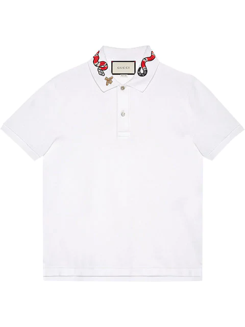 d62774e7f250 Gucci Cotton Polo With Kingsnake Embroidery In 9140 White   ModeSens