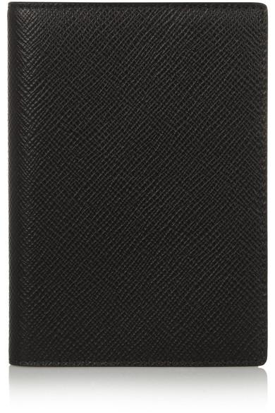 Smythson Textured-Leather Passport Cover In Black