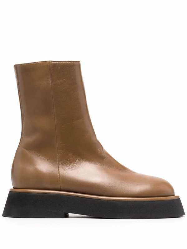 Wandler Rosa Leather Ankle Boots In Brown