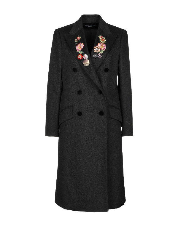 de513bdd761 Dolce   Gabbana Double-Breasted Floral Embroidered Coat In Black ...
