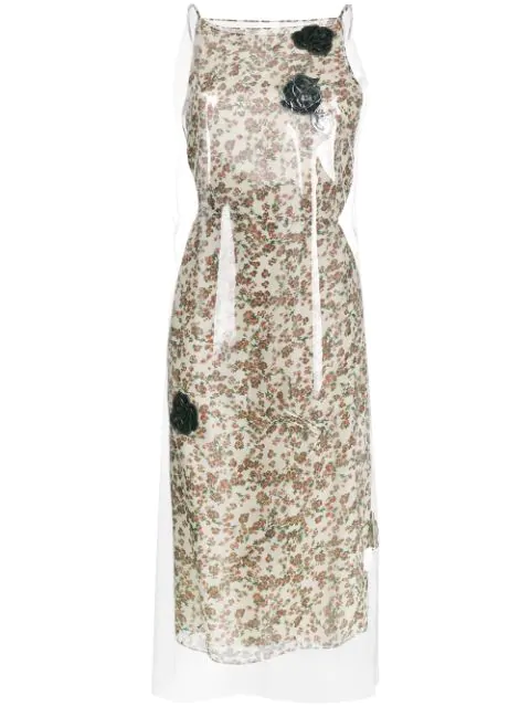 Calvin Klein 205w39nyc Floral Print Midi Dress With Transparent Overlayer In Multicolour