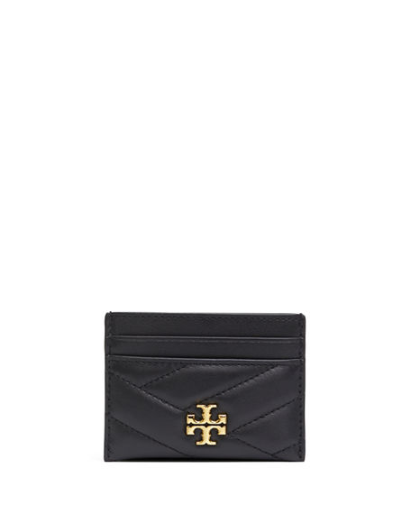Tory Burch Kira Quilted Leather Card Case In Black