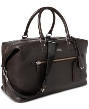 1709d6344b Polo Ralph Lauren Men s Pebbled Leather Duffel Bag In Medium Dark Brown