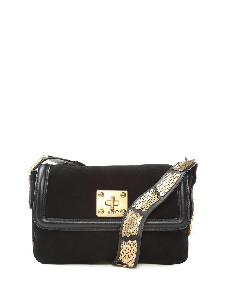 788c25c8b Red Valentino Sin Snake-Embellished Suede Shoulder Bag In Nero ...