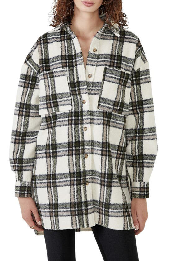 Bardot Oversize Check Flannel Shirt In Beige Check