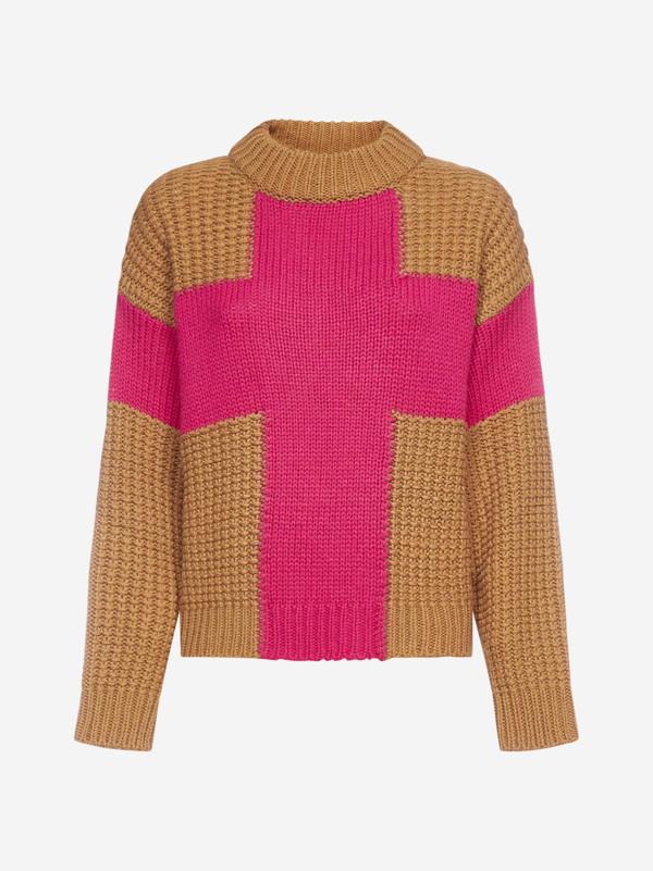Essentiel Antwerp Cross-intarsia Wool-blend Sweater In Combo2 Dromedaris