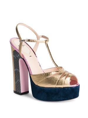 1a6ce70b9967 Fendi Duo Mixed Media Platform Sandals In Gold-Multi