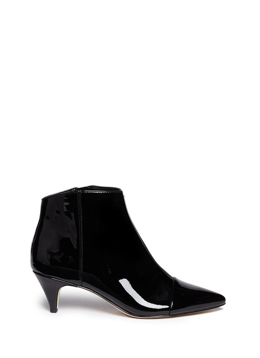 b32d398c965 'Kinzey' Patent Leather Ankle Boots in Black