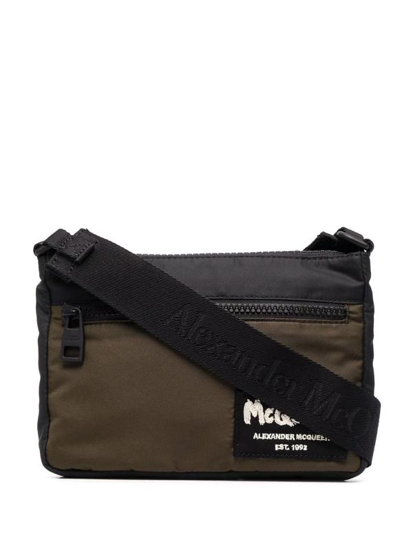 Alexander Mcqueen Logo-patch Messenger Bag In Black