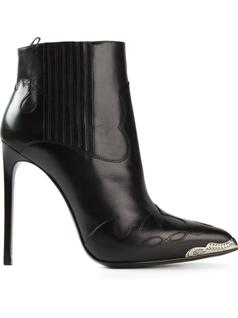 Saint Laurent Black   Silver Embossed Western Paris Boots In Nero-Black 64d185c10bc5