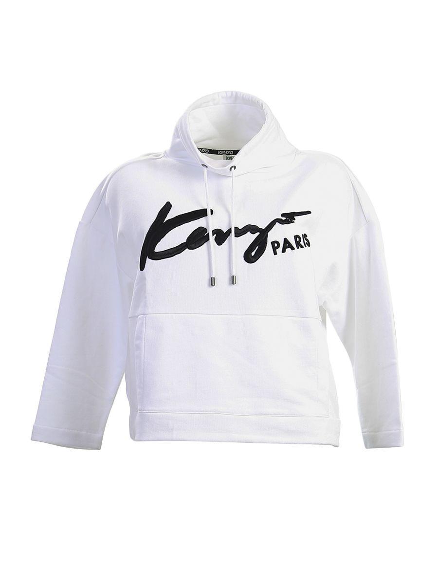 Kenzo Embroidered Cotton High Collar Sweatshirt In White