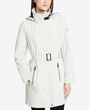 Calvin Klein Hooded Softshell Jacket In Cement