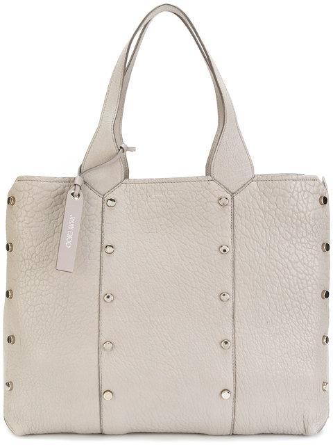 c48dab45b57 Jimmy Choo Lockett Shopper Moonstone Grainy Leather Tote Bag