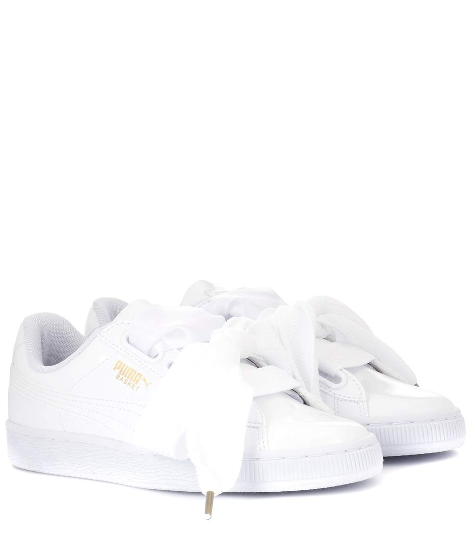 Puma Basket Heart Patent Sneakers In White