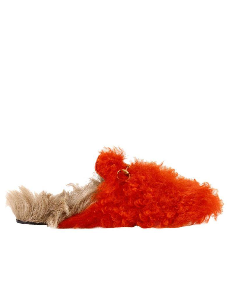 c501ab06188 Gucci Ballet Flats Princetown Gitana Slippers With Burnished Horsebit And  Bicolor Fur In Bright Orange
