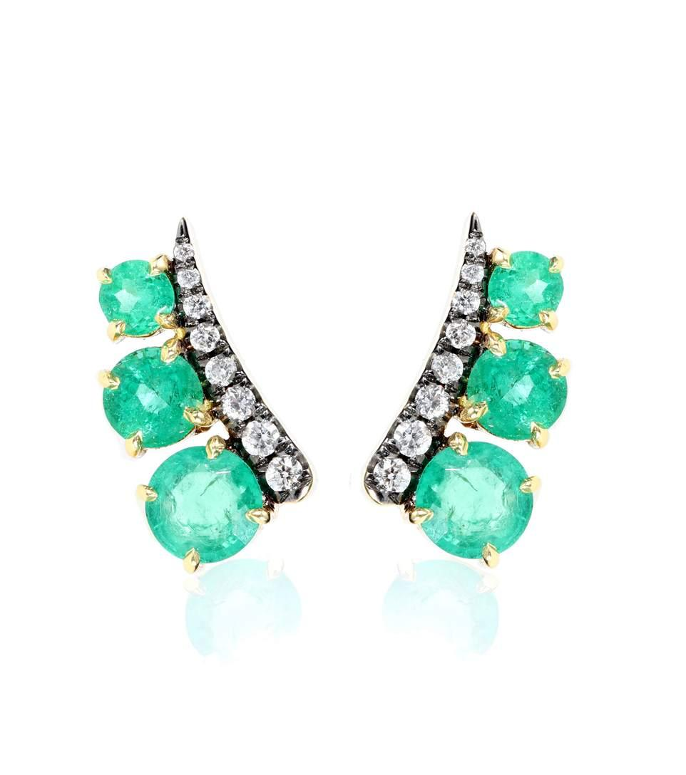 Jemma Wynne Prive 18Kt Yellow Gold Earrings With Diamonds And Emeralds