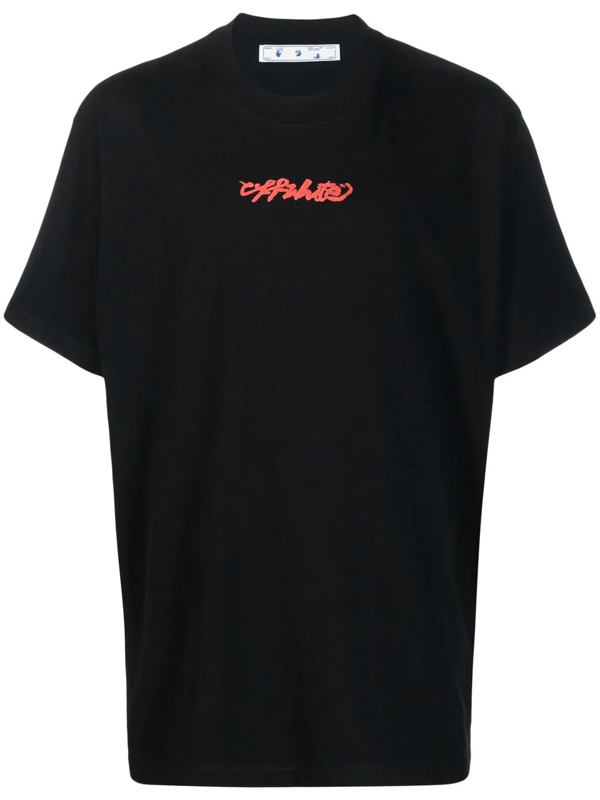 Off-white Arrow On Canvas Printed Cotton T-shirt In Black