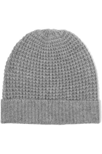 b7290e8d3 Holby Waffle-Knit Cashmere Beanie in Gray