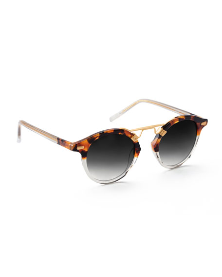 Krewe St. Louis Round Two-tone Sunglasses, Brown Tortoise In Brown Pattern
