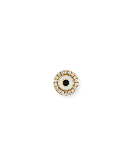 Sydney Evan Enamel Evil Eye Diamond Disc Single Stud Earring In Yellow Gold