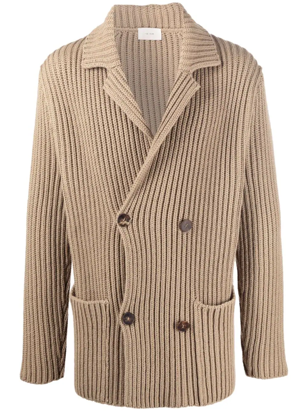 The Row Ribbed Knit Double Breasted Cardigan In Nude
