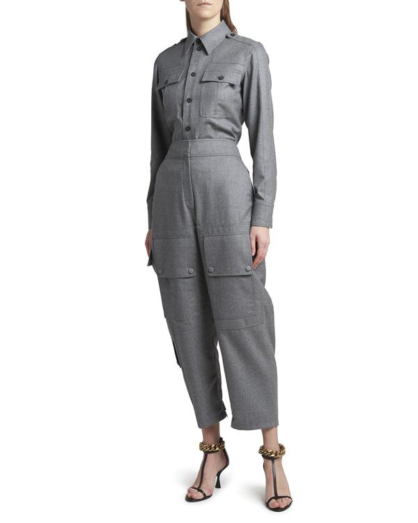 Stella Mccartney Kaiya Cropped Utility Trousers In 1264 Lt Grey