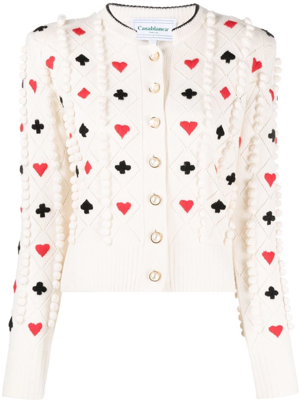 Casablanca Casino Embroidered Wool Ccardigan In Knit White