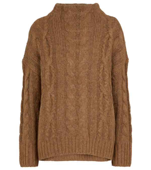Vince Braided Cable-knit Funnel-neck Sweater In Neutrals