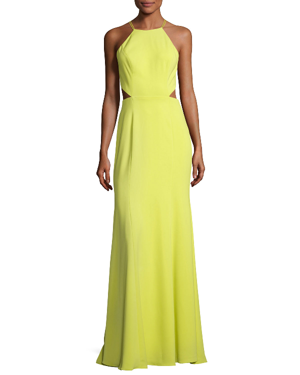 02bb352a6e Marchesa Notte Sleeveless Strappy Stretch Crepe Gown, Chartreuse, Chartreuse