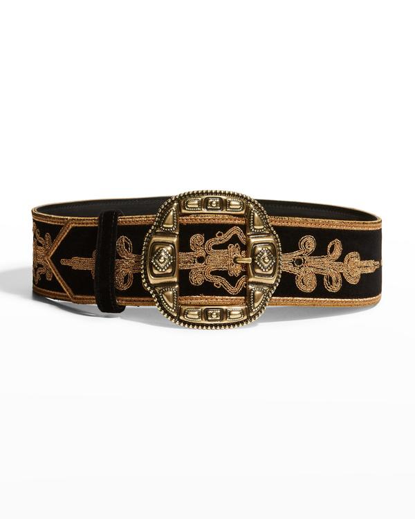 Etro Embroidered Decorative Buckle Belt In Nero