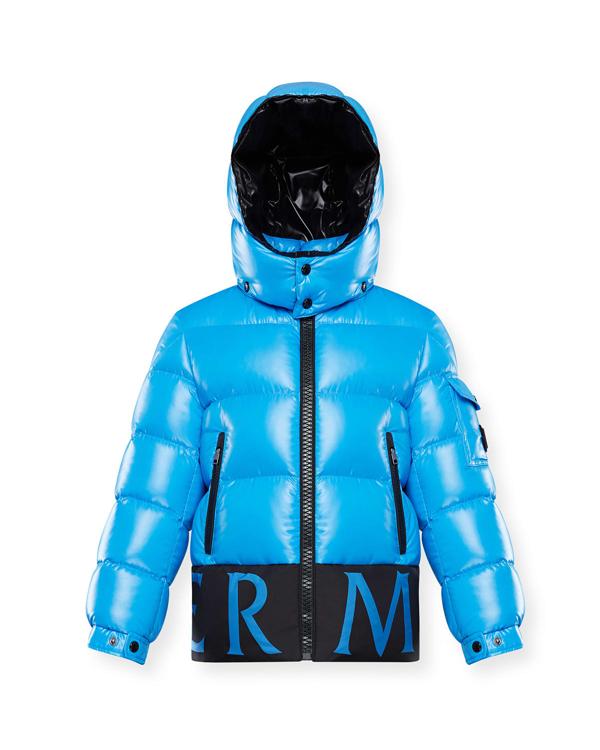 Moncler Kids' Boy's Pervin Contrast Logo Quilted Jacket In 72k Blue