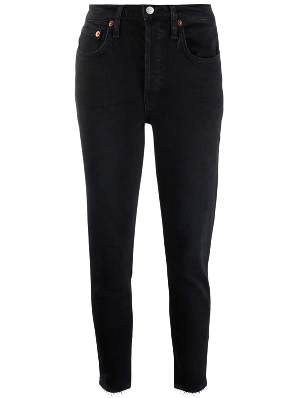 Re/done Mid-rise Ankle Crop Jeans In Schwarz