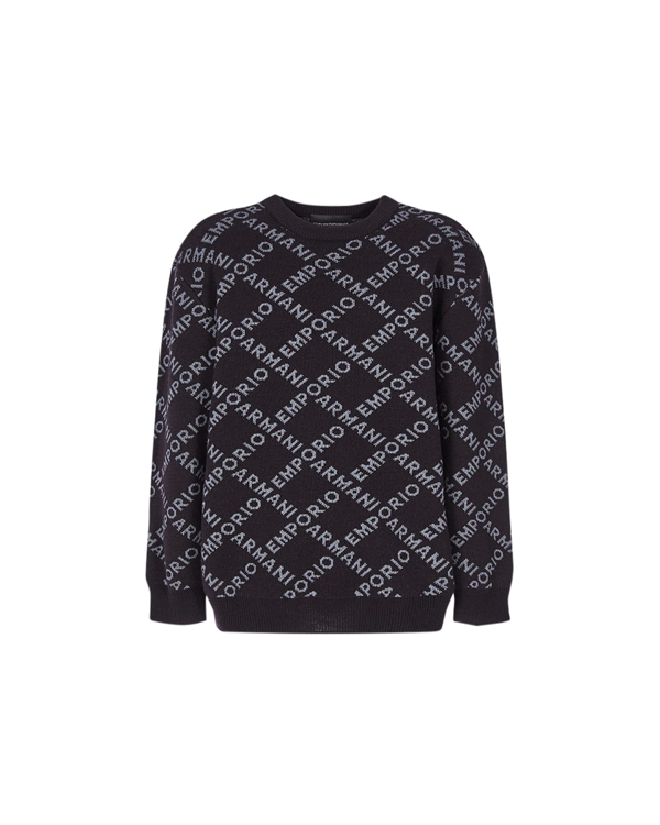 Emporio Armani Kids' Boy's Allover Lattice-print Sweatshirt In Blu Navy
