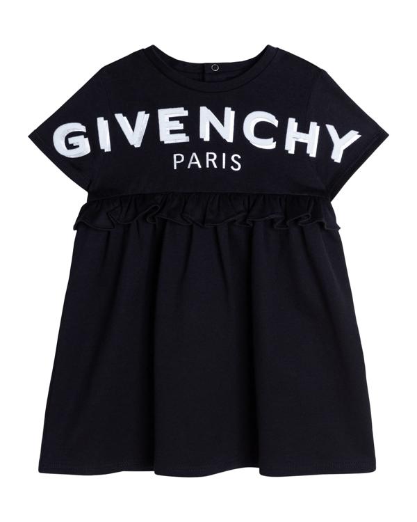 Givenchy Kids' Girl's Shadow Flocked-logo Dress In 09b Black
