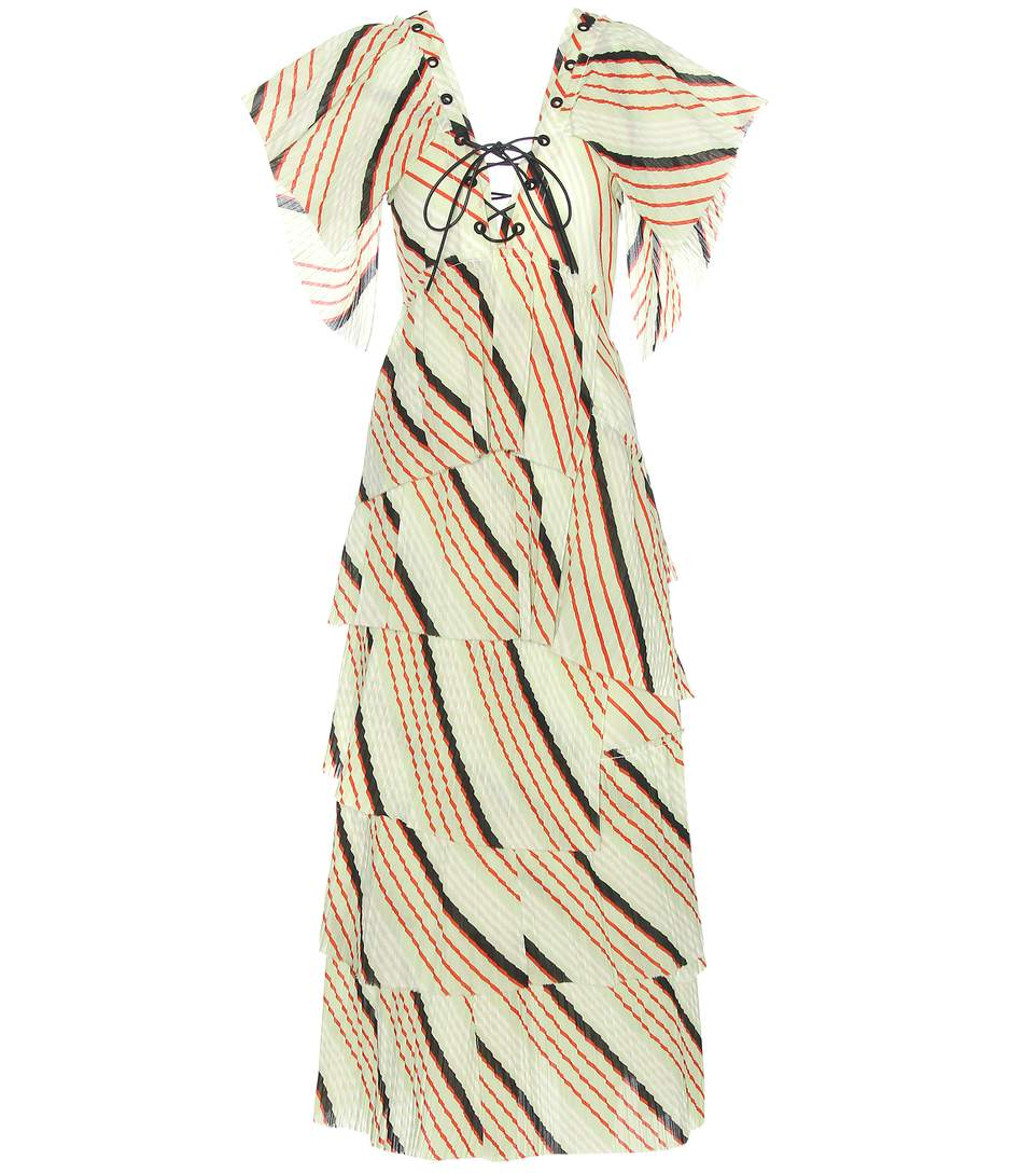 Sonia Rykiel Tiered Striped Cotton Maxi Dress In Miet