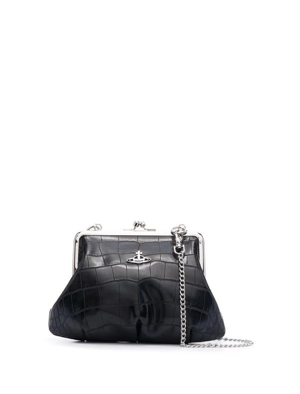 Vivienne Westwood Orb-logo Crocodile-effect Shoulder Bag In Black