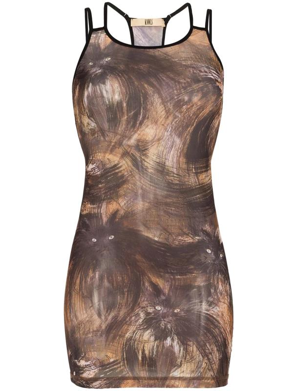 Knwls Womens Cats Vortex Stretch-jersey Mini Dress S In Brown