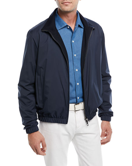 Loro Piana Reversible Storm System Shell And Cashmere Bomber Jacket In Navy