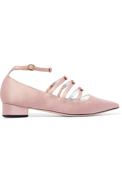b8fd521bb Alexa Chung Bow-Embellished Satin Point-Toe Flats In Baby-Pink ...