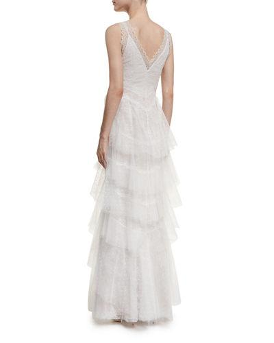 5ec66664d9 Marchesa Notte Lace Gown With Tiered Skirt In White | ModeSens