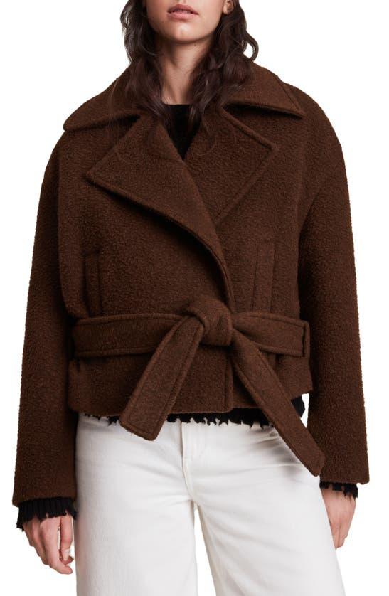 Allsaints Boston Wool Blend Jacket In Brown