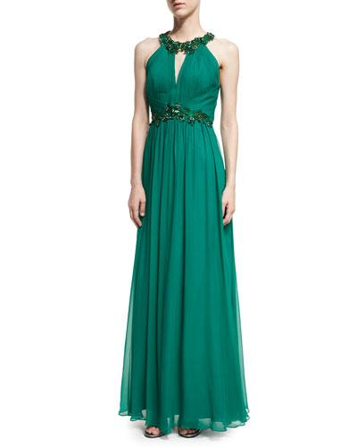 b8ea659565 HALTER-NECK SLEEVELESS BEADED CHIFFON GOWN. Marchesa Notte evening gown in  silk ...