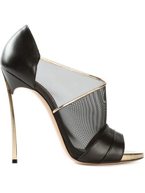 Casadei Mesh & Leather D'Orsay Pumps In Nero/Oro