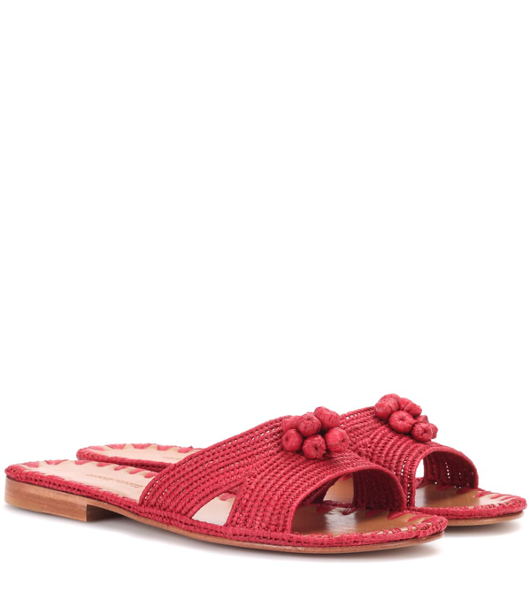 Carrie Forbes Raffia Slides In Red