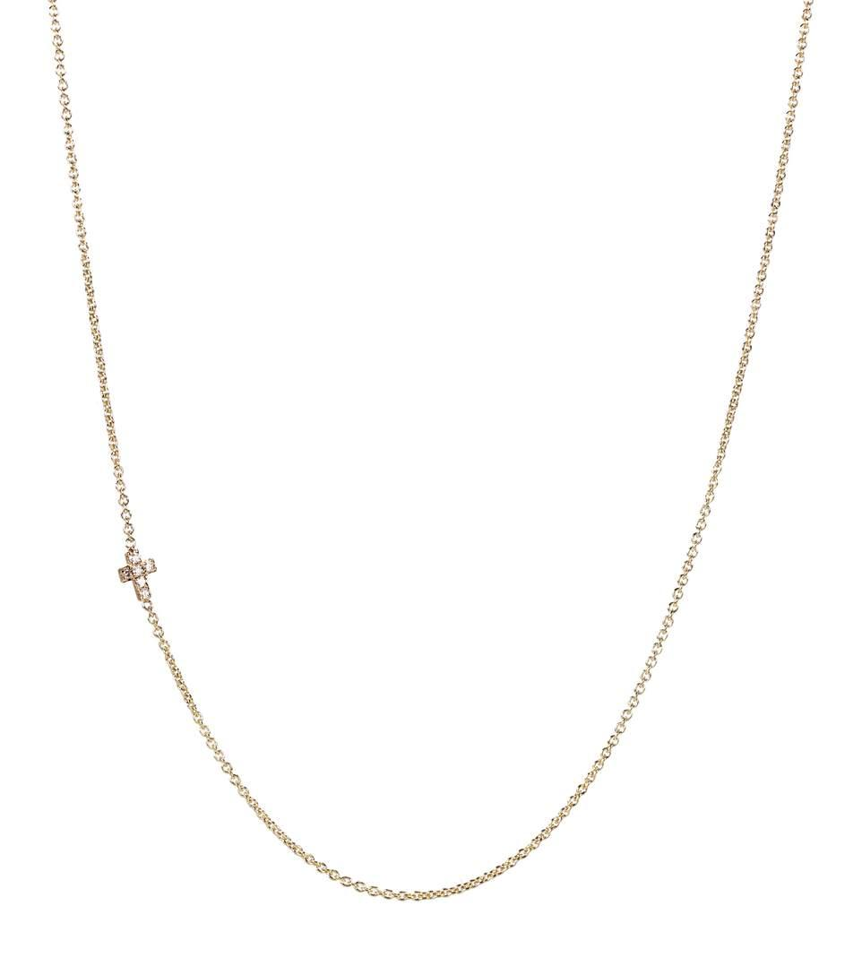 Sydney Evan Tiny Cross 14kt Gold And Diamond Necklace In No