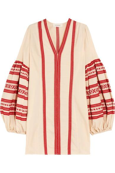 Celia Dragouni Embroidered Cotton Mini Dress In Red