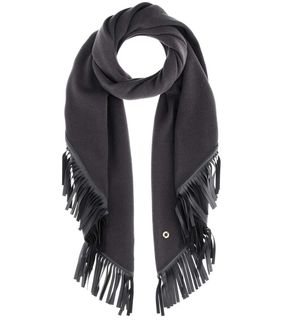 Loro Piana Semicircle Cashmere And Leather Scarf In Llack
