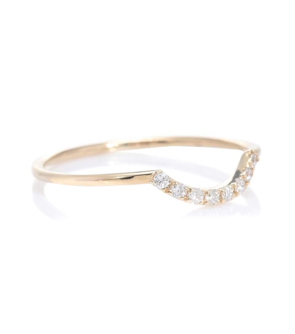 Sydney Evan Curved PavÉ 14kt Gold And Diamonds Ring