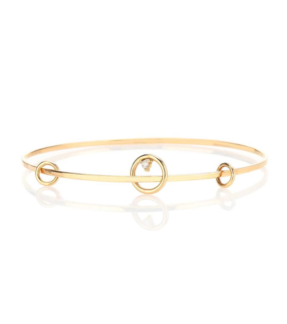 Wasson Fine 14kt Gold And Diamond Orbit Bangle