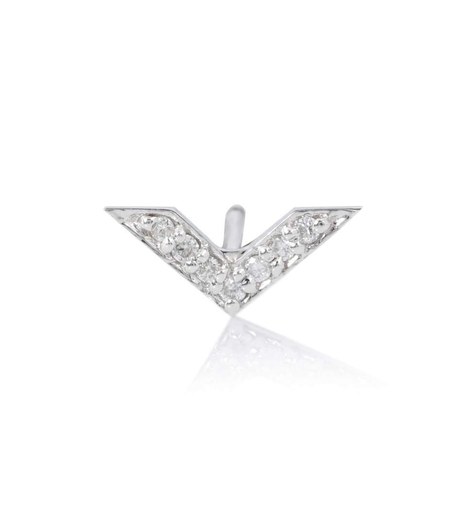 Sydney Evan Chevron 14kt White Gold Earring In Silver